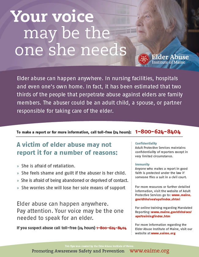 Maine Elder Abuse Awareness Poster